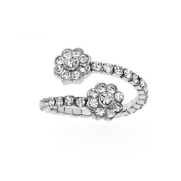 Facet Nation - Silver Plated Crystal Flower Coil Ring
