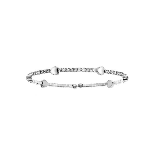Facet Nation - Silver Plated Crystal Coil Bangle with Heart Stations