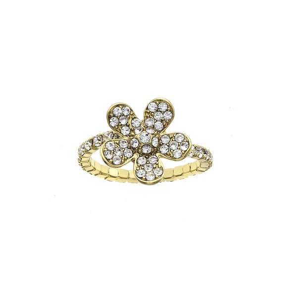 Facet Nation - 14KT Gold Plated Crystal Large Flower Coil Ring