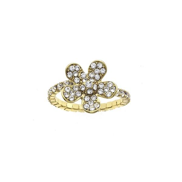 Facet Nation - 14KT Gold Plated Crystal Large Flower Coil Ring