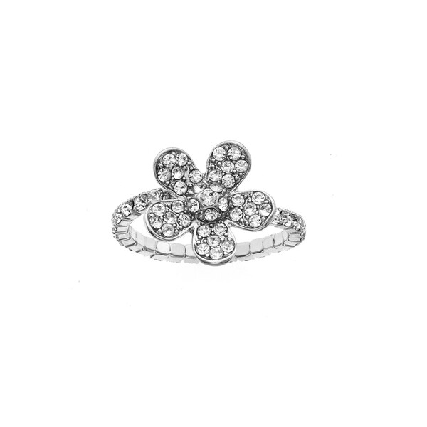 Facet Nation - Silver Plated Crystal Large Flower Coil Ring