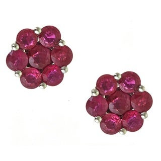 Anika and August 14k White Gold 2 1/4ct TGW Round-cut Ruby Earrings