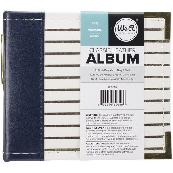 We R Designer D Ring Album 4inX4in Navy W/Gold Foil Stripes