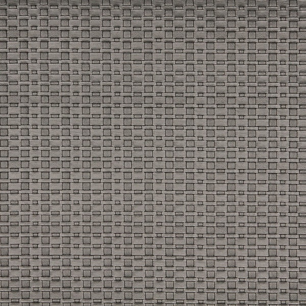 G689 Silver Metallic Thin Basket Woven Look Upholstery Faux Leather by the Yard