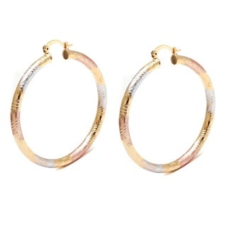 Peermont Jewelry 18k Gold and Silver 50mm Engraved Hoop Earrings