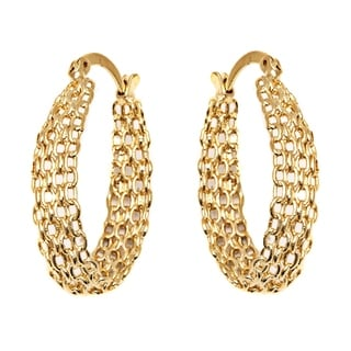 Peermont Jewelry 18k Goldplated Cable Linked Hoop Earrings