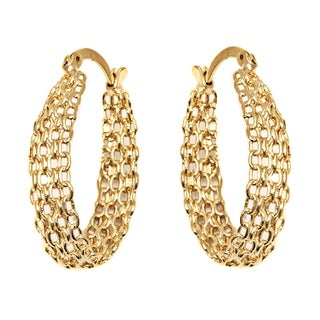 18k Goldplated Cable Linked Hoop Earrings