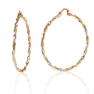 18k Goldplated Rose and Silver Twisted Cut Hoop Earrings