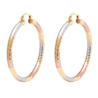 18k Goldplated Triple-Tone 50mm Diamond-cut Hoop Earrings