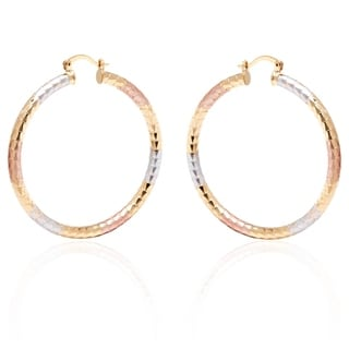 18k Gold and Silver 50mm Diamond-cut Hoop Earrings