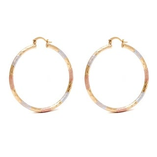18k Gold and Silver 50mm Diamond-Crushed Hoop Earrings