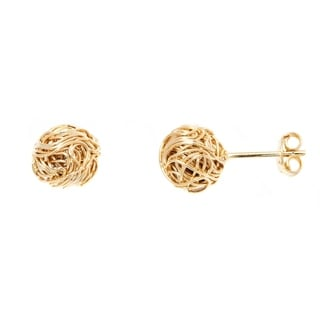 18k Goldplated Gold 9mm Woven Cable Love Knot Stud Earrings
