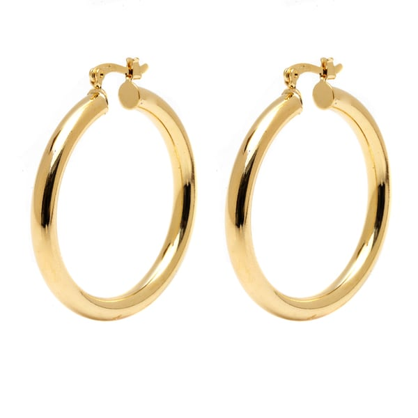 18k Goldplated 30mm Gold Hollow Hoop Earrings
