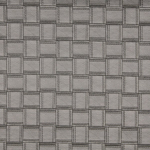 G696 Silver Metallic Basket Woven Look Upholstery Faux Leather by the Yard