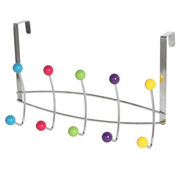 Over The Door Multi Colored 5 Hook Hanging Rack