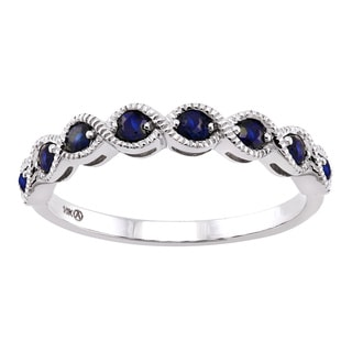 Beverly Hills Charms 10k Gold Blue Sapphire and Ruby Milgrain Anniversary Stackable Ring