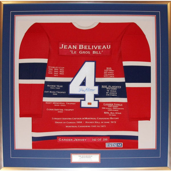 Jean Beliveau Framed Career Jersey