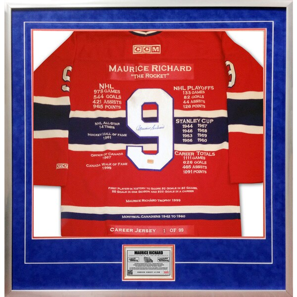 Maurice Richard Career Jersey no. 1 of 99