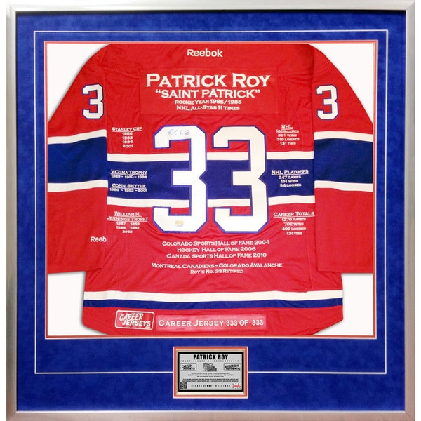 Patrick Roy Career Jersey no. 333 of 333