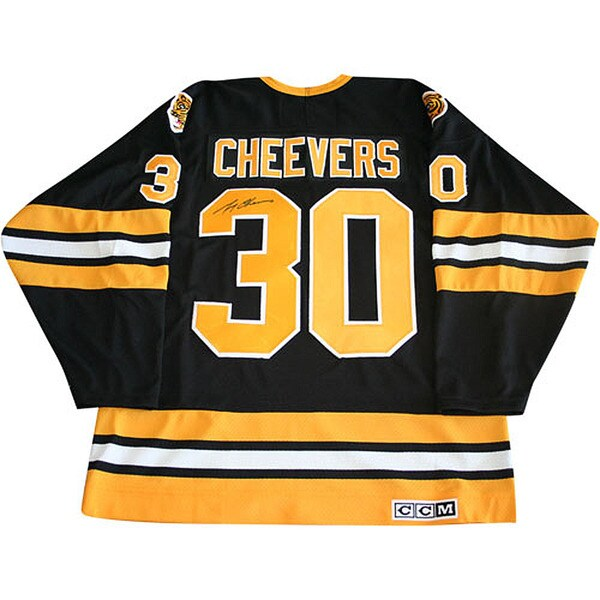 Gerry Cheevers Autographed Black Boston Bruins Jersey