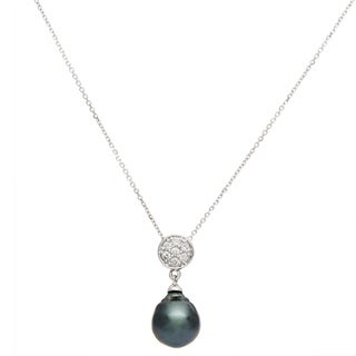 Bliss by Damiani Moon 18k White Gold Diamond and Pearl Pendant Necklace