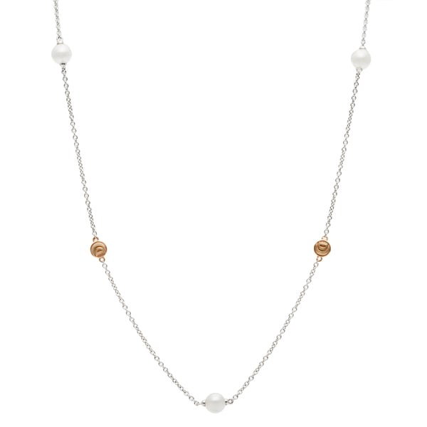 Damiani 18k White and Rose Gold Pearl Necklace