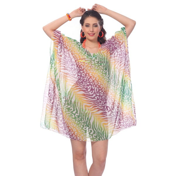 La Leela Sheer Chiffon Multi Allover Animal Skin Printed Swim Beach Cover up