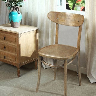 Adeco Natural Elm Wood Vintage-style Dining Chairs (Set of 2)