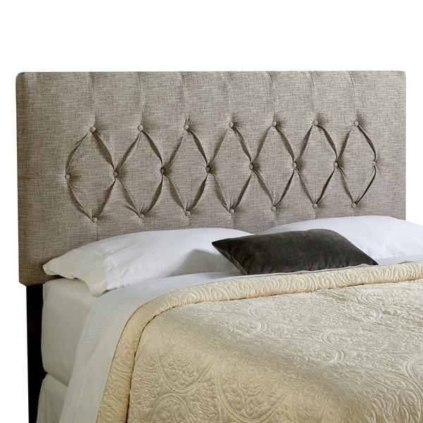 Haute Halifax Queen Ash Grey Upholstered Diamond Tufted Headboard