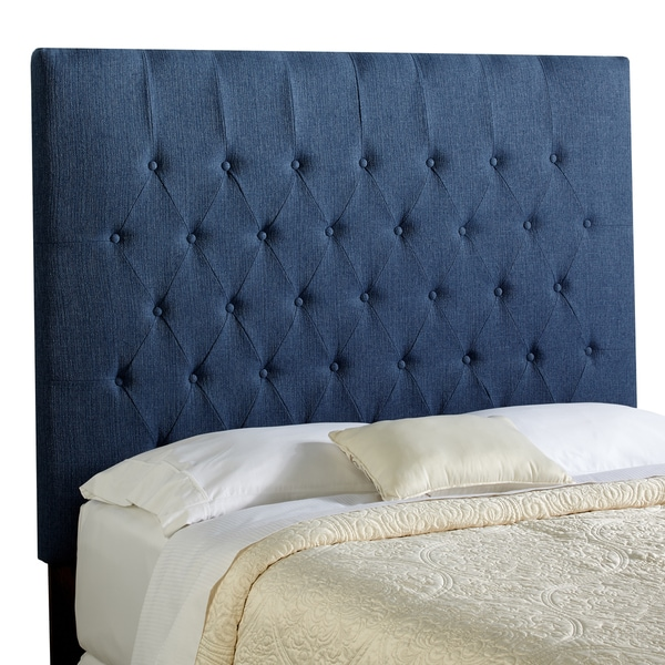 ... Halifax Tall Queen Navy Blue Upholstered Diamond Tufted Headboard