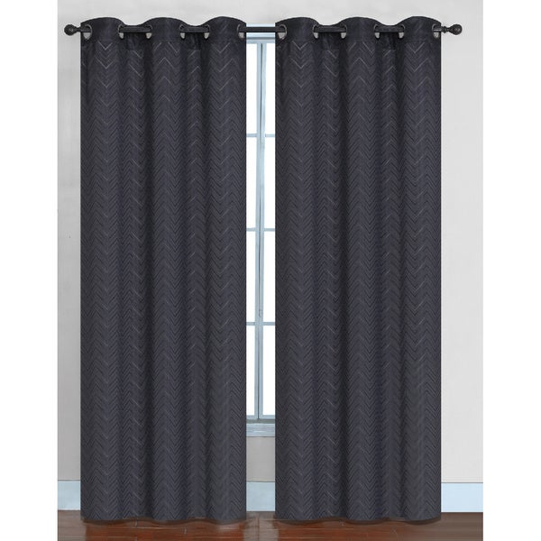 Chevron Faux Silk Blackout Grommet Top 84-inch Curtain Panel Pair - 76 x 84 15627341