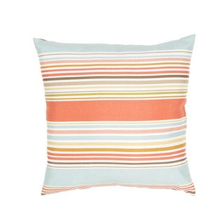 Stripe Pattern Blue/Pink Polyester Polly Fill 18-inch Throw Pillow