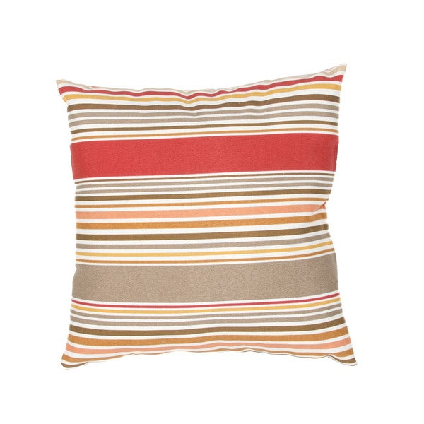 Stripe Pattern Red/Taupe Polyester Polly Fill 18-inch Throw Pillow