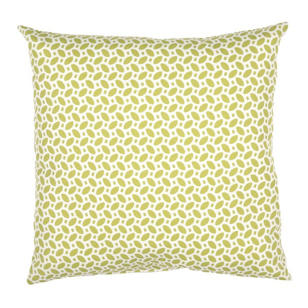 Geometric Pattern Green/Ivory Polyester Polly Fill 18-inch Throw Pillow