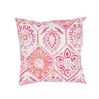 Floral Pattern Pink/Red Polyester Polly Fill 18-inch Throw Pillow