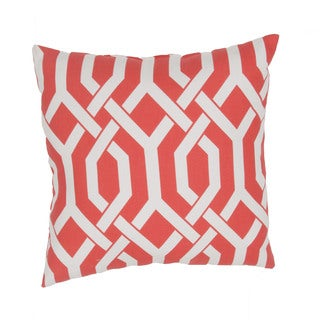 Geometric Pattern Red/Ivory Polyester Polly Fill 20-inch Throw Pillow