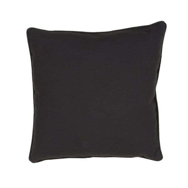 Solid Pattern Black Polyester Polly Fill 20-inch Throw Pillow
