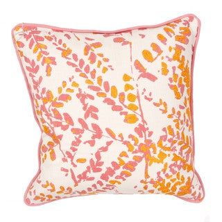 Floral Pattern Pink/Orange Cotton Polly Fill 18-inch Throw Pillow