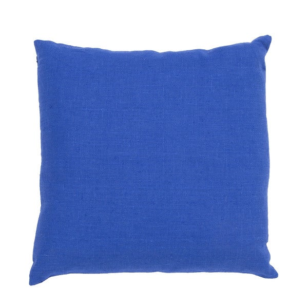 Solid Pattern Blue Linen Polly Fill 20-inch Throw Pillow