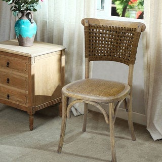 Adeco Elm Wood Vintage Style Dining Chairs with Rattan Cane Seat and Woven Paper Rope Back