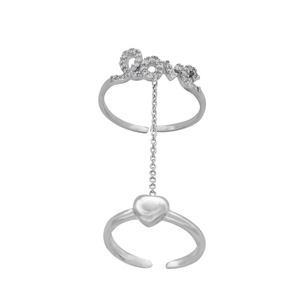Sterling Essentials Silver Cubic Zirconia Love Knuckle Ring