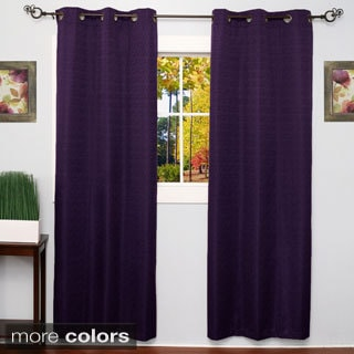 Modern Diamond Texture Design, Energy Saving, Foam Backing, Faux Silk Blackout Grommet 84-Inch Curtain Panel Pair
