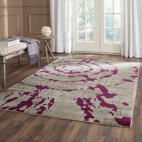 Safavieh Porcello Light Grey/ Purple Rug (6'7 Square)