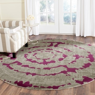 Safavieh Porcello Light Grey/ Purple Rug (6'7 Round)