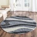 Safavieh Shag Grey/ Ivory Polyester Rug (5' Round)