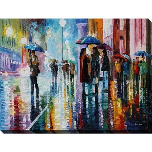 Leonid Afremov 'Bus Stop - Under The Rain' Giclee Print Canvas Wall Art
