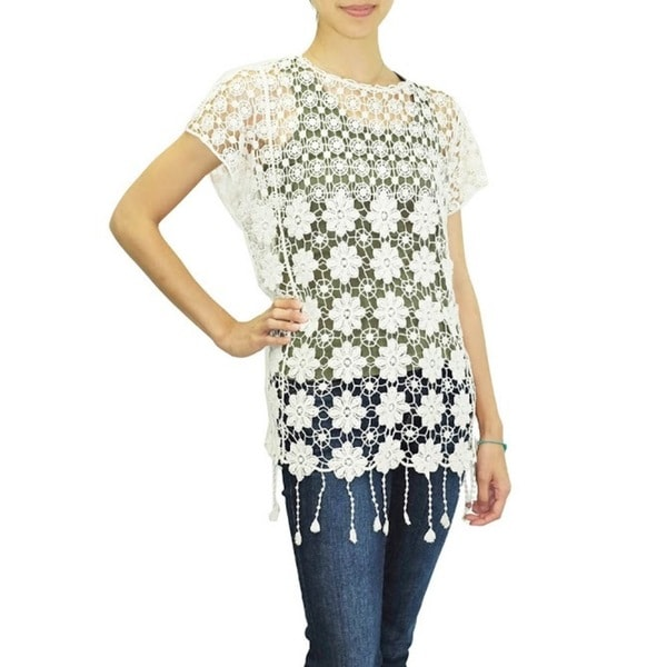 Relished Women's Blu Pepper Ivory Crocheted Boho Fringe Top
