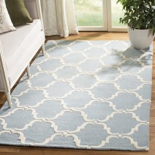 Safavieh Handmade Cambridge Blue/ Ivory Wool Rug (6' Square)