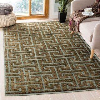 Safavieh Hand-knotted Tangier Blue/ Beige Wool/ Jute Rug (5' x 8')
