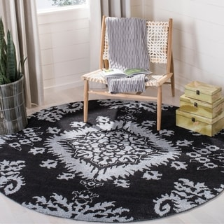 Safavieh Hand-knotted Stone Wash Charcoal Wool Rug (6' Round)